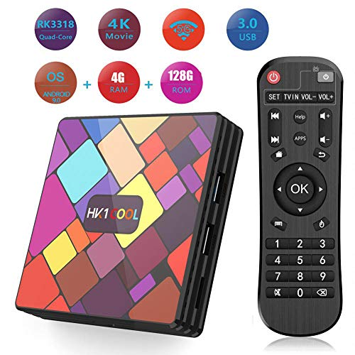 WXJHA Smart TV Box Android 9.0 TV Box 4GB RAM/128GB ROM RK3318 Quad-Core 64Bit 2.4G/5G Dual-Band Wifi Streaming Media…