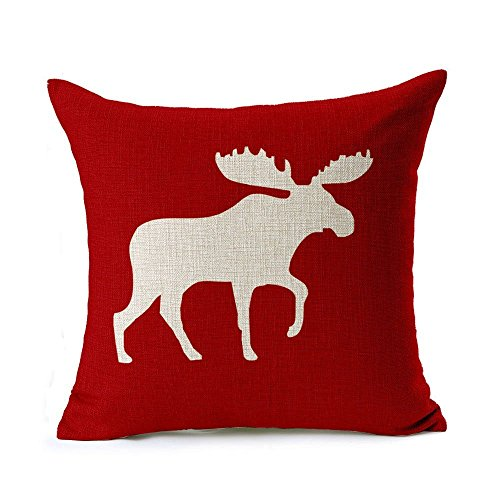 MARY ST 18?18 Inch Cotton Linen Decorative Throw Pillow Cover Cushion Case, Holiday Moose ...