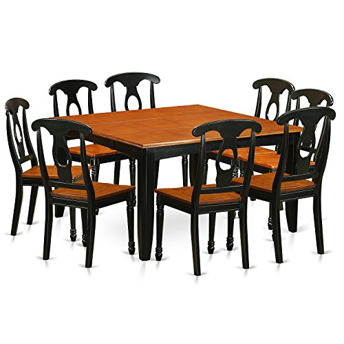 East West Furniture PFKE9-BCH-W 9 Piece Dining Table and 8 Wooden Chairs Set, Black/Cherry Finish