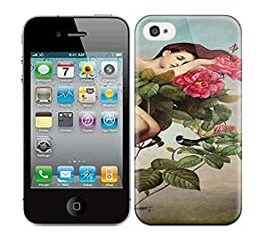 Best Power(Tm) HD Colorful Painted Watercolor Sexy Girl Lying In The Flowers Hard Phone Case For Iphone 4/4S