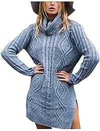 Simplee Women's Winter Warm Oversized Turtleneck Long Pullover Sweater Dress