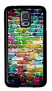 Case Shell for Samsung of Galaxy S5 consent Covered with Coloured Brick Wall,Customized Opt-in Black Hard Plastic Cover Skin for Samsung Galaxy of S5 I9600 SALE