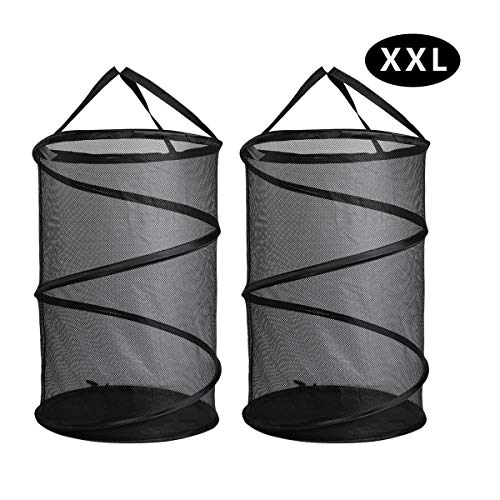 - ganamoda Collapsible Spiral Pop-up Mesh Hamper - Thicken to Avert Fissuration,Reinforced Carry Handles and Nylon Bottomand,for The Occasions of Home,Laundry Room,Travel,ect.Black 2PACK