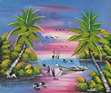 Home Decor Wall Canvas Painting Hand Painted On Canvas 24'' W x 20'' H Africa Native African Caribbean Sea Island Beach Boats Palms Scenic (Unframed) Canvas Wall Art 10