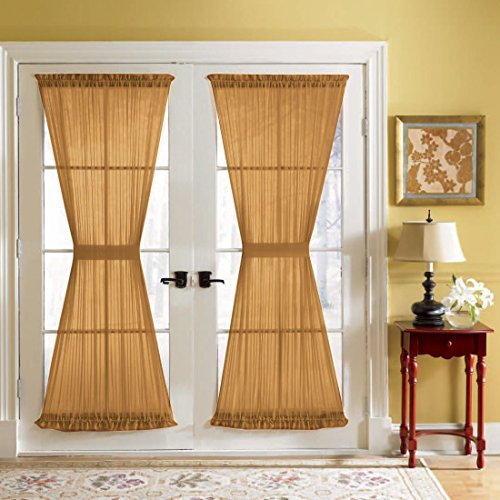 BrylaneHome Bh Studio Sheer Voile Door Panel With Tiebacks (Autumn Leaves,60
