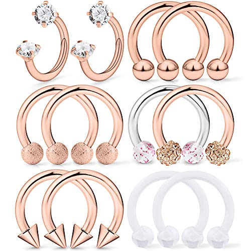 Dyknasz Horseshoe Circular Barbell Clear Diamond CZ Braided Barbell Nose Septum Rings Hoop Helix Cartilage Earring Surgical Steel Piercing Jewelry Retainer for Women Men 16G 10mm Rose Gold
