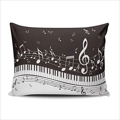 WULIHUA Pillow Covers A Piano Keys with Musical Notes Background Sofa Durable Modern Pillow Case Decorative Custom Throw Pillow Cases one Side Printed Queen 20x30 Inches (Covers Piano Custom)