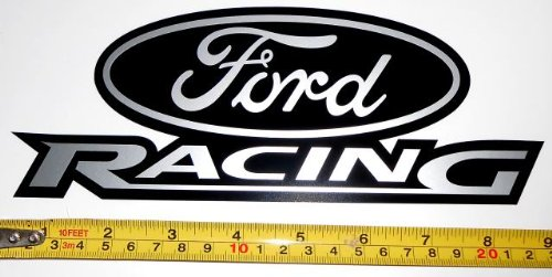 ford racing logo very bold silver met on black hq vinyl