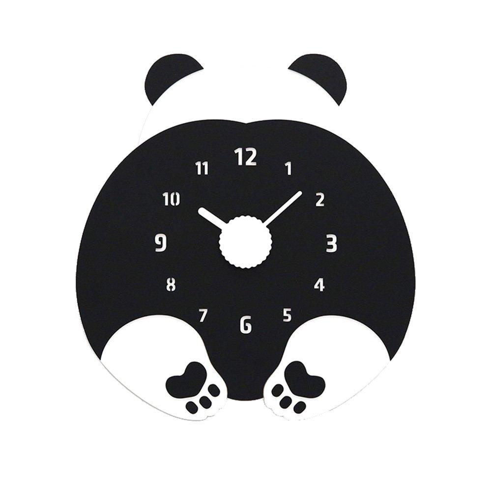 掛け時計 北欧 おしゃれ 壁掛け時計 木製 ネコ 可愛い 彫り 親子シーズン 音無し 電池式 おしゃれ 居間 寝室 オフィス 子供 親友 家族 祝い プレゼント (パンダ) B07CQWDBS3パンダ