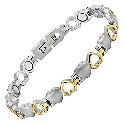 Womens Love Heart Titanium Magnetic Therapy Bracelet Adjustable By Willis Judd free shipping
