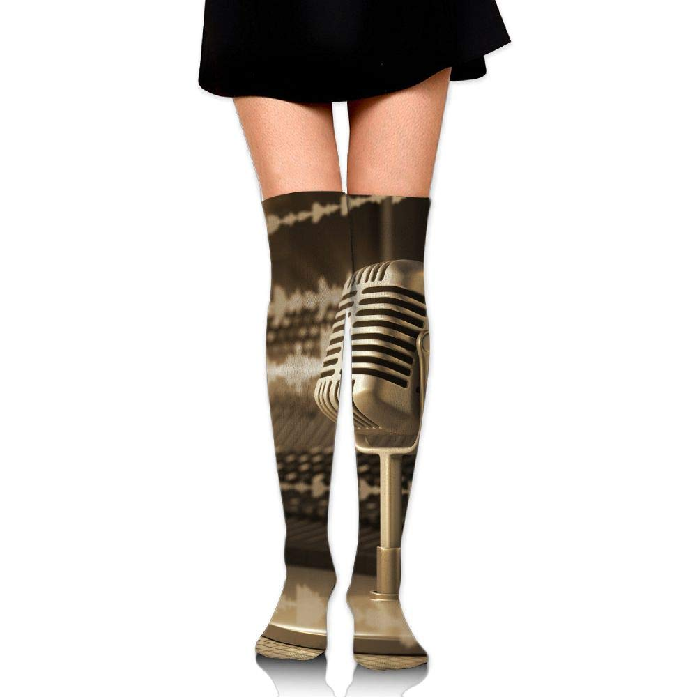 High Elasticity Girl Cotton Knee High Socks Uniform Microphone Music Note Women Tube Socks
