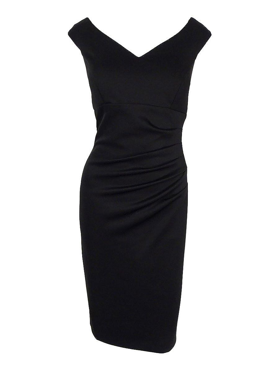 Xscape Women's Cap Sleeve V-Neck Back Vent Dress