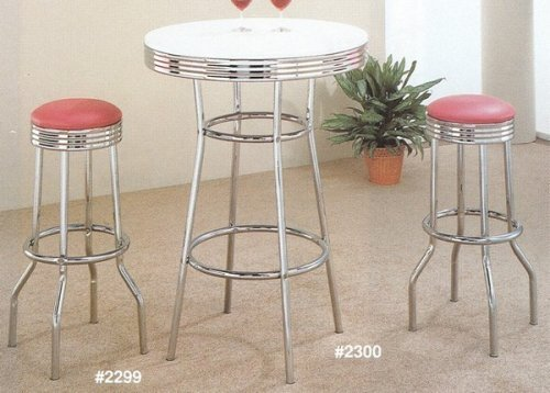 50's Style Bar Stool (3pc Retro Nostalgic Soda Fountain Style Bar Table & 2 Stools Set w/Rose Finish Seat)