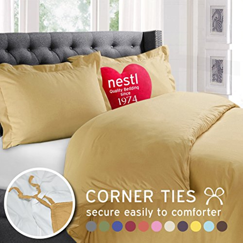 Nestl Bedding 3-Piece Queen Duvet Cover Set, Camel Yellow Gold