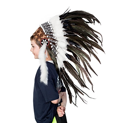 Novum Crafts Kids Feather Headdress | Native American Indian Inspired | Black (Feathered Headdress)