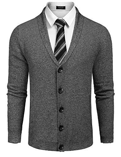 JINIDU Men's Long Sleeve Shawl Collar Cardigan Sweater Slim Fit Casual Button Down Knitted Cardigan