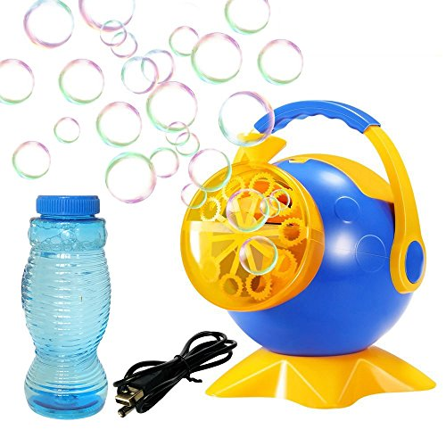 Bubble Machine Automatic Portable Bubble Blower Maker for Kids Birthday Party Christmas Wedding Favor Gifts, with Bottle of Bubbles Solution Refill, USB or Battery Operated (Battery Not Included) by handrong
