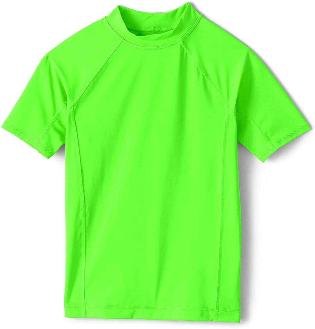 Lands End Boy Solid Short Sleeve Rashguard Green Gecko Neon Big Kid Large