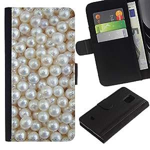 Planetar® Modelo colorido cuero carpeta tirón caso cubierta piel Holster Funda protección Para Samsung Galaxy S5 Mini / SM-G800 (Not For S5!!!) ( White Rich Pearl Jewel Gem )