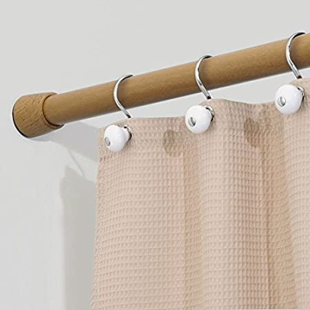 Etonnant MDesign Bamboo Shower Rail   Extendable Shower Rail   Telescopic Shower  Curtain Rod   No Drilling