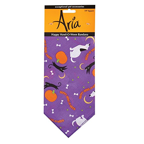 Aria Happy Howl-O-Ween Bandanas for Dogs, Purple for $<!--$10.56-->