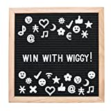 WIGGY Black Felt Letter Board 10x10: 346 White Plastic Letters, Numbers, Symbols and EMOJIS - Premium Wooden Oak Frame - Wall Mount & Stand - Free White Cotton Bag - Versatile and Portable