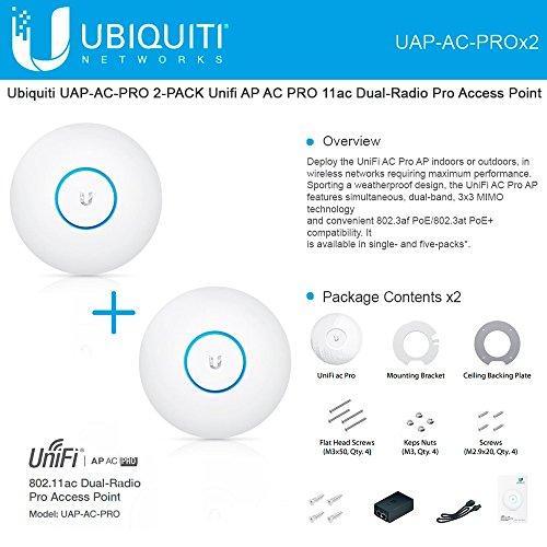 Dual Radio Access Point - Ubiquiti UAP-AC-PRO 2-PACK Unifi AP AC PRO 11ac Dual-Radio Pro Access Point
