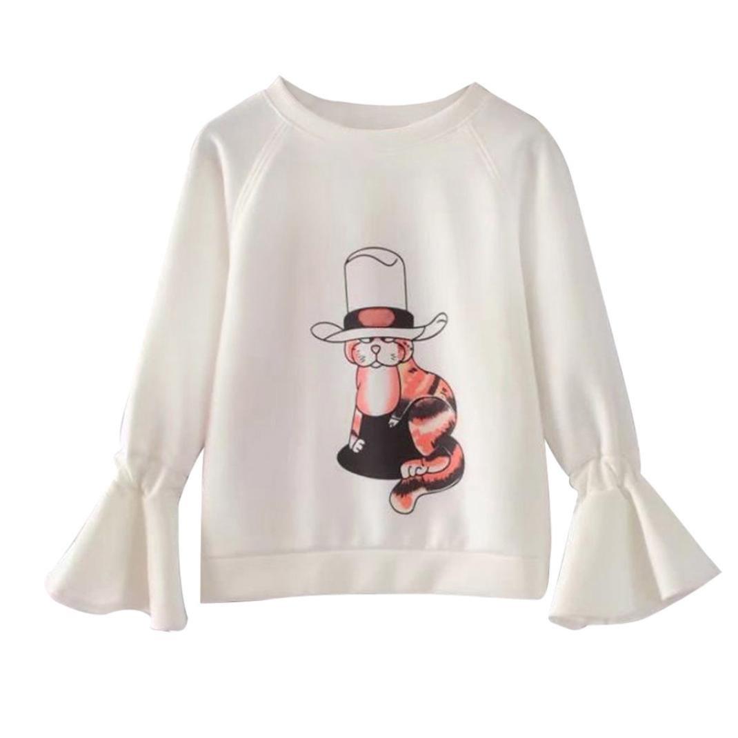 FORH- Jacken Damen Nette Katze Muster Drucken Sweatshirt Pullover Niedlich Lange Trompete Ärmel Sweatshirt Mantel Tops