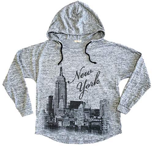 - Sweet Gisele New York NYC Brush Hoodie | Grey, Pink | Womens Sweatshirt w/Bling (Large, Grey)