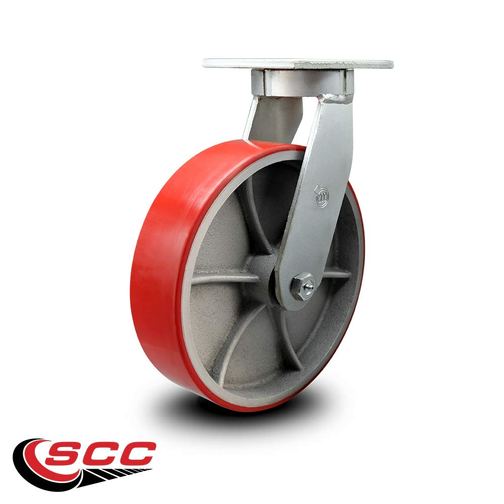 """Extra Heavy Duty Kingpinless 10"""" x 3"""" Red Polyurethane Tread on Metal Core Swivel Caster - 3,000 lbs/Caster - Service Caster Brand"""