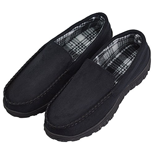 Men's Moccasin Slippers Microsuede Indoor Outdoor Household Slip On Shoes US 12 Black (FBA)