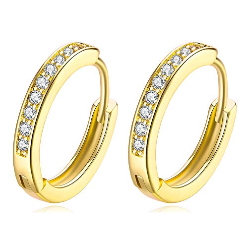 (14k Gold Plated Tone CZ Small Hoop Huggie Earrings For Women Teen Girls jewelry, 0.67'')