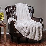 "Chanasya Super Soft Warm Elegant Cozy Fuzzy Fur Fluffy Faux Fur with Sherpa Wave Shape Embossed Plush Off White Microfiber Throw Blanket (50"" x 65"") - Solid Off White"