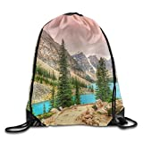 Yifui Canadian Moraine Lake Sunset Drawstring Bag For Traveling Or Shopping Casual Daypacks School Bags