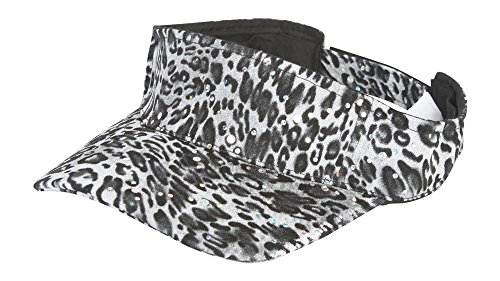 Leopard Visor (TOP HEADWEAR TopHeadwear Womens Glitter Animal Print Adjustable Visor - Snow Leopard)