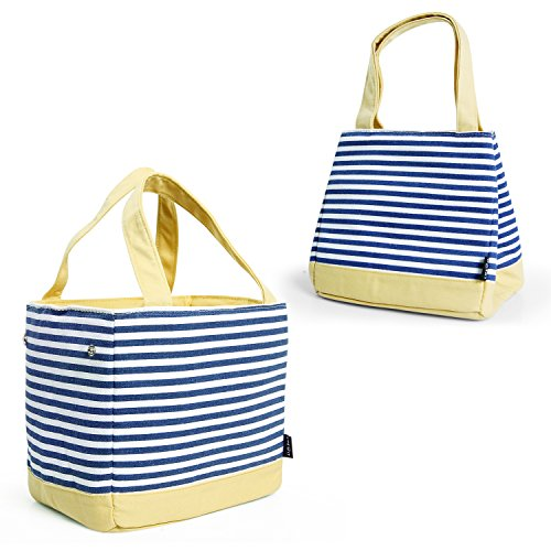 Stripe Lunch Box - Lifewit Capacity-Adjustable/Drawstring Lunch Box, Insulated Thermal Bento Bag for Office/School/Picnic, Naval Stripe, Blue Yellow