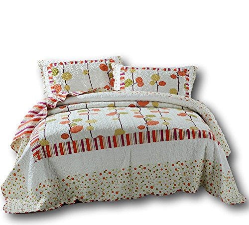 DaDa Bedding Falling Leaves Bedspread Set - Mellow Fall Polka Dot Reversible Quilted Coverlet - Bright Multi Colorful Autumn Orange - Queen - 3-Pieces ()