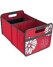 Meori Faltbox Classic Large Kakao Braun / Blumen 32x50x27,5cm abwischbar, stabil, Polyester Picknick Party Grillen Garten Camping Ausflug Reise Aufräumen Regal