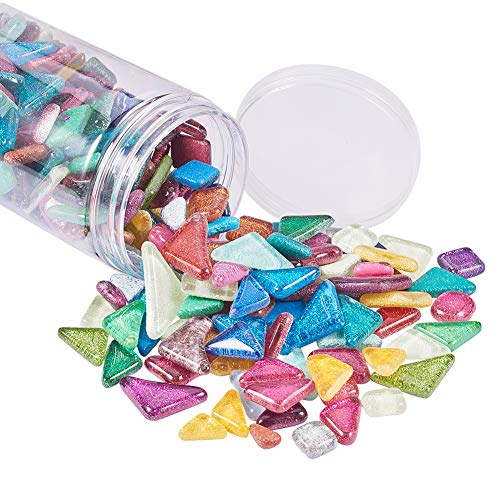PH PandaHall 500g Assorted Colors Mosaic Tiles Glitter Crystal Mosaic Cabochons Large Piece for Home Decoration Crafts Supply DIY Handmade Project Triangle, Rohmbus