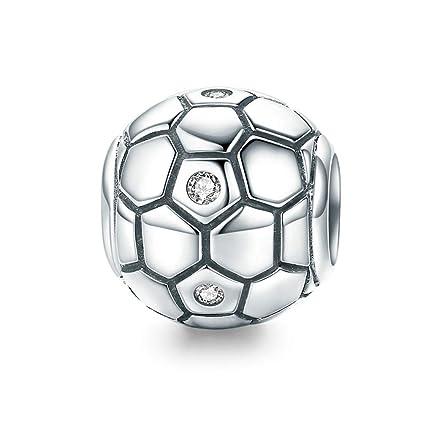 Grano de esmalte de fútbol de plata encanto europeo Pulseras//Collar Ajusta