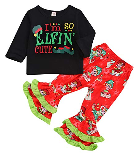 Christmas Outfit Toddler Baby Girls Long Sleeve Shirt Tunic Top Ruffle Pant Holiday Novelty Clothes 2Pc (Black, 2-3 Years(110)) -