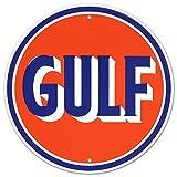 Gulf Oil Gasoline Logo Round Tin Sign 12 x 12in
