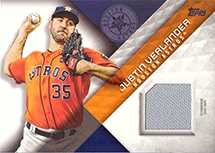 a18f3f64a0d Image Unavailable. Image not available for. Color  2018 Topps Relics   MLM-JL Justin Verlander Game Worn Houston Astros Jersey Baseball Card