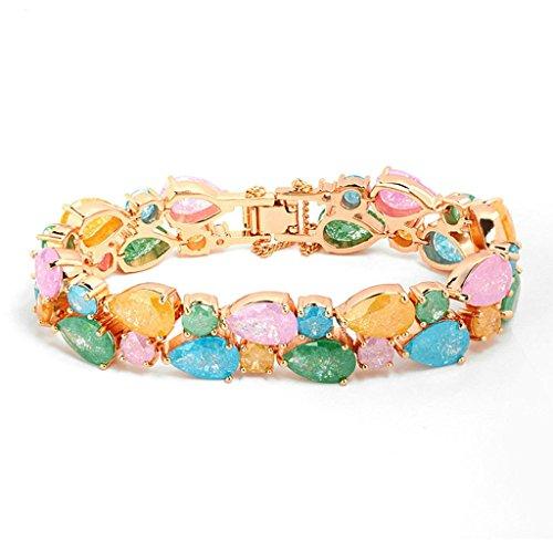 Daesar Gold Plated Bracelets Womens Charm Bracelet Ice Rainbow Rhinestone Bracelet Stone Teardrop - Old Tory Collection Burch