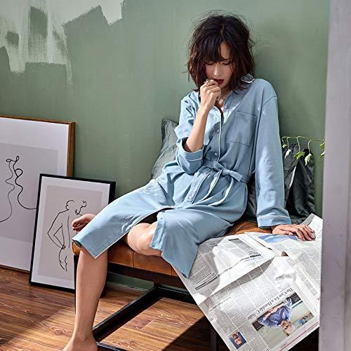Minimalista Accappatoio Lungo Camicia Pigiami Lunghe Camicie Aqua Maniche Blu Gzz Da Cintura Abito Notte Pigiameria Donna Pigiama l Bavero Cotone qX8vg6