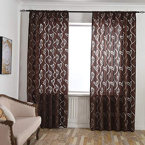 Loneflash Fabric Leaves Sheer Curtain Tulle Window Treatment Voile Drape Valance Panels/Drape/Treatment for Bedroom Living Room,1 Panel