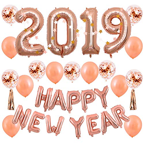 BALONAR 40 inch Jumbo Rose Gold 2019 Number Balloons Backdrop Rose Gold Balloons Happy New Year Banner Decoration Confetti Balloons and Tassel for Graduation New Year Supplies -