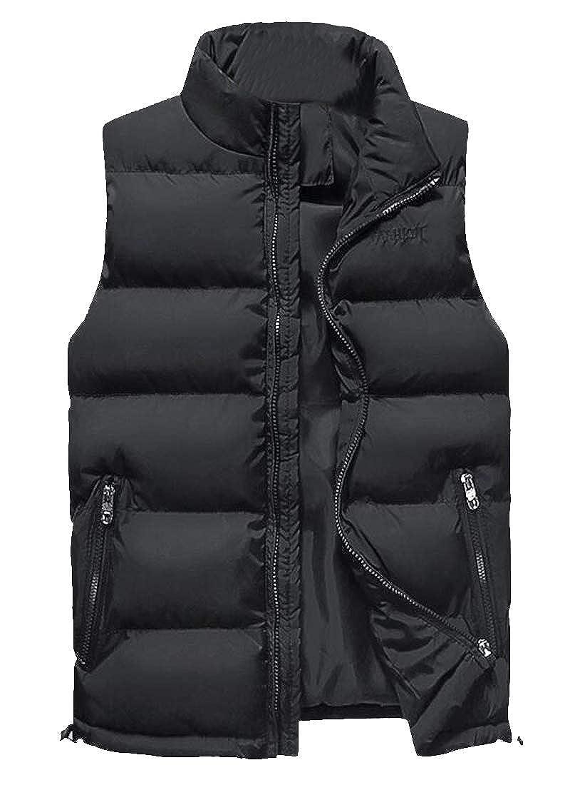 WAWAYA Men Stand Collar Zip Up Thickened Winter Down Quilted Jacket Waistcoat Vest