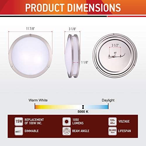 OSTWIN LED フラッシュマウント ダブルリング 12インチ 15W 1050lm 調光可能 つや消しニッケル 4 PACK ホワイト OW-LFMDR-12D1550-NK-4-PACK