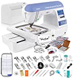 Brother SE1800 Sewing and Embroidery Machine + Grand Slam Package Includes 64 Embroidery Threads + Prewound Bobbins + Cap Hoop + Sock Hoop + Stabilizer + 15,000 Designs + Scissors